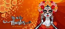 Day Of The Dead, Dia De Los Muertos, Sugar Skull With Marigold Flowers Wreath On Paper Black Color Background.