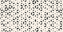 Vector Seamless Pattern With Small Diamond Shapes, Floral Silhouettes. Subtle Minimal Background With Halftone Effect, Randomly Scattered Shapes. Simple Stylish Black And White Texture. Modern Design