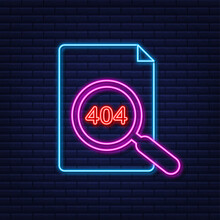 404 Error Page Not Found Neon Sign. Vector Stock Illustration