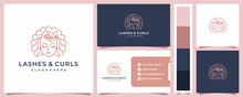Lashes And Curls Woman Monoline Logo Design And Business Card