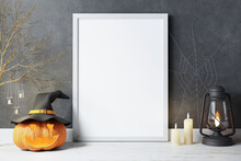 Halloween Background And Decor With Empty Photo Frame