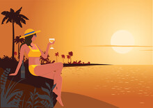 A Young Woman Watching The Sunset By The Sea In The Midst Of A Beautiful Evening With A Drink Alone. Flat Style Cartoon Illustration Vector