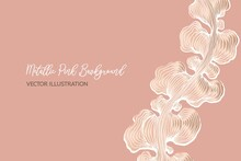 Art & Illustration, Abstract Metallic Pink Luxury Background. Pink Wallpaper Vector Illustration With Swirly Organic Lines.