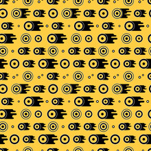 Bright Yellow Seamless Vector Pattern With Black And White Circles, Dots And Drips Of Paint