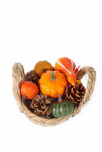 Autumn Composition Decorations, Basket With Pumpkin And Pine Cone