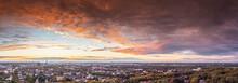 Romantic Sunset Over The Skyline Of Duisburg In Autumn