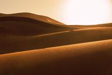 Textures In Sahara Desert Sand At Sunset