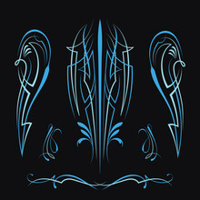 Pinstriping Motorcycle And Car Design Vintage Old School Vector