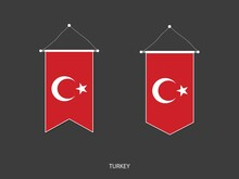 2 Style Of Turkey Flag. Ribbon Versions And Arrow Versions. Both Isolated On A Black Background.