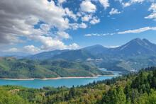 Idyllic Beauty Of Lake Plastira .artificial Lake. Tourist Attraction.  Greece