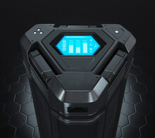 Sci-fi Futuristic Energy Cell Battery With Display, Black On Black Background, 3d Render