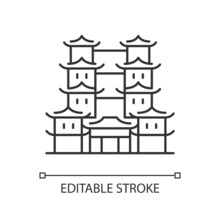 Tooth Relic Temple Linear Icon. Spiritual Hub For Buddhists. Southern China Architecture. Thin Line Customizable Illustration. Contour Symbol. Vector Isolated Outline Drawing. Editable Stroke