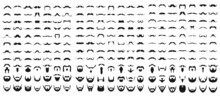 Set Of Beard With Mustache Or Mustache, Vector Icons
