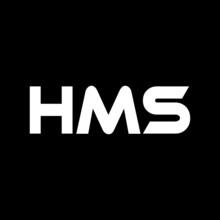 HMS Letter Logo Design With Black Background In Illustrator, Vector Logo Modern Alphabet Font Overlap Style. Calligraphy Designs For Logo, Poster, Invitation, Etc.