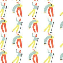 Seamless Pattern. Vector Illustration With Harper And Singer. Cartoon Character.