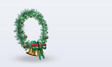 3d Christmas Wreath Turkmenistan Flag Rendering Left View