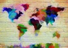 Street Art, Planisphère En Projection De Mercator. Le Monde Dans Un Fondu De Couleurs