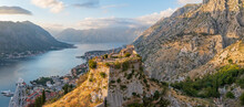 Sunset View At The Top Of St John (San Giovanni) Fortress And Castle, Old Town, Kotor, Bay Of Kotor, Montenegro.