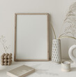 canvas print picture - Mock up frame close up in home interior background, Boho style, 3d render