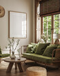 canvas print picture - Poster frame mock-up in home interior background with sofa, table and decor in living room, 3d render