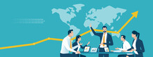 Strategy. The Team Discusses About Global Strategy And Success. Business Vector Illustration.