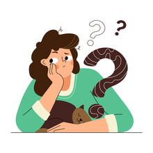 Pensive Girl With A Cat. The Girl Asks A Question, She Reflects And Solves The Problem. Funny Isolated Characters In Flat Style. Vector Illustration.