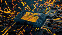 Entertainment Technology Concept With Movie Symbol On A Microchip. Data Flows From The CPU Across A Futuristic Motherboard. 3D Render.