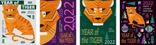 Happy Chinese Tiger New Year 2022 Banner Vector. Geometrical Trees, Fir, Christmas Tree Toy.