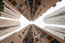 Multistage Residential Building Under Cloudy Sky