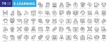 Electronic Learning Icons Pack. Thin Line Icons Set. Distance Learning Collection Set. Simple Vector Icons