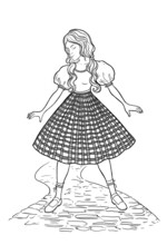 Dorothy Standing On Brick Path. The Wizard Of Oz. Fairytale Character Design. Vector Illustration