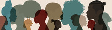 Silhouette Face Head In Profile Ethnic Group Of Black African And African American Men And Women. Identity Concept - Racial Equality And Justice. Racial Discrimination. Racism