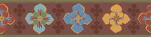Medieval Style Stylized Floral Vector Border Background. Border Of Hand Drawn Flower Motifs With Brown Blended Silhouette Shapes. Earthy Geometric Historical Effect Abstract Botanical Trim, Edging