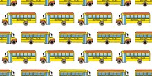 Seamless Pattern With School Busses, Back To School Pattern