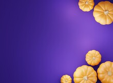3d Moc Up Flat Lay Background With Pumpkins,3d Rendering,