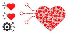 Itself Fractal Collage Heart Sensor. Vector Heart Sensor Collage Is Made Of Scattered Fractal Heart Sensor Elements. Flat Illustration.