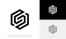 Initials S Logo Design. Initial Letter Logo. Hexagon Logo Design.