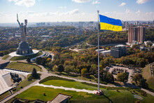 Motherland Monument On The Territiry Of National Museum Of The History Of Ukraine In The Second World War In Kyiv. View From Drone