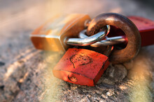 Three Love Locks With An Engraved Heart