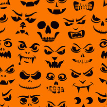 Funny Monsters Seamless Pattern. Halloween Holiday Character Silhouettes Background. Vampires, Skeletons, Demons Stencil