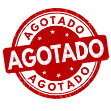 Out Of Stock ( Agotado - In Spanish Language ) Grunge Rubber Stamp On White Background, Vector Illustration