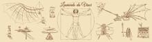 Sketch Of Leonardo Da Vinci's Vitruvian Man And Engineering Drawings, Hand-drawn.