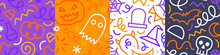 Colorful Halloween Party Seamless Pattern Set. Modern Cartoon Line Doodle Background Illustration Of Scary Autumn Celebration Decoration And Childish Squiggle Shapes.