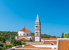 Church Of St. Philip At Makarska, Croatia. Sacral Building In Center Of The City. Blue Sky, Summer Weather.