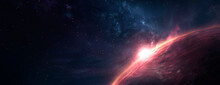 Abstract Fantastic Space Of The Universe. Space Background With Nebula And Stars. Dark Space Background With An Unknown Planet, Flashes Of Light In Space. 3d Illustration