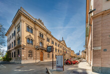 Cuneo, Piedmont, Italy - October 6, 2021: The Building Prefecture Cuneo (designed By Pietro Carrera 1882) In Street Rome, Majestic Neoclassical Building At The Beginning Of Via Roma