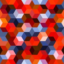 Hexagon Grid Seamless Vector Background.