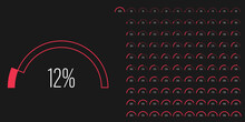 Set Of Semicircle Arc Percentage Progress Bar Diagrams Meters From 0 To 100 Ready-to-use For Web Design, User Interface UI Or Infographic With Line Concept - Indicator With Red