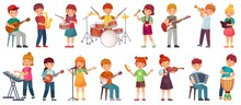 Cartoon Kids Play Music. Talented Kid Playing On Musical Instrument, Music School Lessons. Young Singer, Children Musician Vector Illustration Set