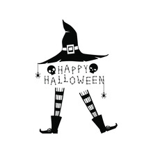 Happy Halloween With Witches Legs In Boots And Black Hat, Skull, Spiders On White Background. Black And White Vector Illustration.